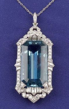 Art Deco Platinum, Aquamarine and Diamond Pendant | Sale Number 2296, Lot Number 495 | Skinner Auctioneers