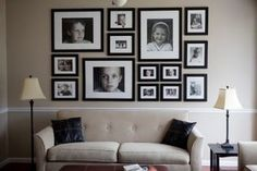 The use of large and small images to create a perfectly rectangular grouping is visually pleasing. There is true balance here. -- Tips for Creating a Photo Collage Wall Decoration: Atlanta Real Estate View.