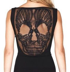 Lace skull black dress