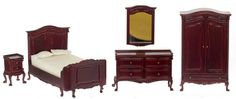 Chateau Lorraine Bed Set in Mahogany by Town Square Miniatures