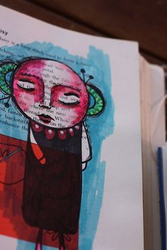 """page from an art journal featuring the artist's """"nook dwellers."""""""