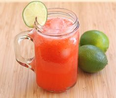 Strawberry Limeade -1-1/2 cups quartered fresh strawberries.1 cup fresh lime juice. 5 cups cold water. Ice cubes Lime slices-for serving, if desired