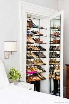 A shoe closet? Home Tour: A Legendary New York Townhouse via // shoe closet Master Closet, Closet Bedroom, Shoe Closet, Deep Closet, Closet Mirror, Master Bedroom, Hidden Storage, Shoe Storage, Storage Ideas