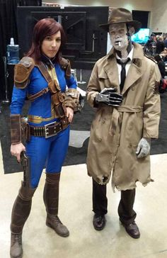 Sole Survivor with Nick Valentine at PAX South.   Cosplayer:Viverra Cosplay.Also see this(better pics).  fallout fallout 4 sole survivor nick valentine fallout cosplay fallout cosplayers