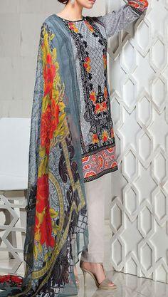 Buy Grey #EmbroideredCottonLawn Dress by Khaadi 2016 Contact: 702-7513523 Email: info@pakrobe.com Skype: PakRobe