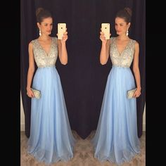 Cheap prom dresses Buy Quality a line prom dress directly from China prom dresses Suppliers: Sky Blue Chiffon A Line Prom Dresses 2017 New High Neck Cap Sleeve Beading Long Chiffon robe de soiree Party Gowns V Neck Prom Dresses, Prom Dresses 2017, Long Prom Gowns, Chiffon Evening Dresses, Formal Evening Dresses, Formal Gowns, Prom Long, Dress Formal, Dress Prom