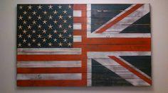 Little bit like us...Half USA Half UK Flag Wall Art. via Etsy.