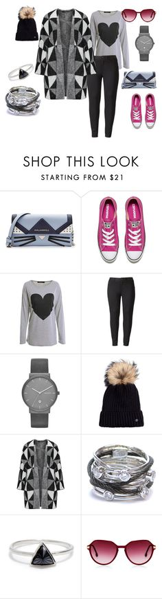 """Outfit #44"" by allieemet on Polyvore featuring Karl Lagerfeld, Converse, WithChic, Simply Vera, Skagen, Bogner, Charriol, Bing Bang and plus size clothing"