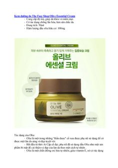 Kem dưỡng da the face shop olive essential cream by Seo Viet via slideshare