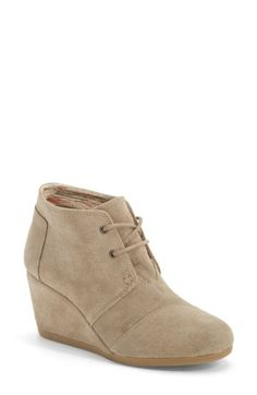 Free shipping and returns on TOMS 'Desert' Wedge Bootie (Women) at Nordstrom.com. A just-right wedge gives you a lift in a modern, versatile chukka boot laced with utilitarian undertones.
