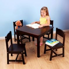 KidKraft - Farmhouse Table and 4 Chairs Set, Multiple Colors - Walmart.com