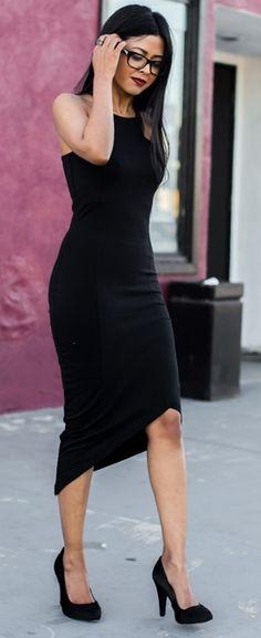 Irregular Hem LBD. women fashion outfit clothing style apparel @roressclothes closet ideas