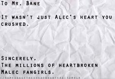 I had to stop and wipe the tears from my eyes...OMAIGAWD Malec...