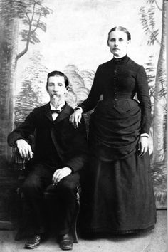 "William Waitsel & Agnes Elmira Franklin Connelly were married July 19, 1861. Elmira rode the train to Rutherford College to visit her brother John Franklin. When William saw Elmira step off the train it was ""love at first sight.' Their first home was a small log house. The town's name was changed from Happy Home to Connelly Springs. Lynne Galvin contributed this photograph to Picture Burke, a digital collection of Burke County photographs maintained at the North Carolina Room."