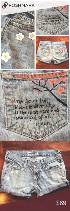"""Handmade Blossom Jean Cutoffs """"The flower that blooms in adversity is the most rare and beautiful of all."""" - Mulan. If you like hand painted floral imagery, embroidered flower patches and deeply thoughtful Disney quotes on your pocket, then these low rise denim shorts are for you. Old Navy Shorts Jean Shorts"""