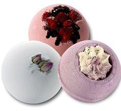 Badebombe im Sparset, 3 Badekugeln Lavendel, Kokos und Himbeere - Schokolade, je 160g Lashuma Badebomben