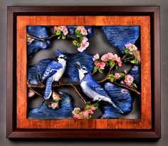 Upscale Gift Blue Jays cuple Wood Carving Carved and by DavydovArt