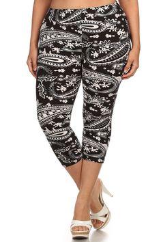 71671627dcd Plus Size Paisley Print Capri Leggings – PLUSSIZEFIX Plus Size Clubwear