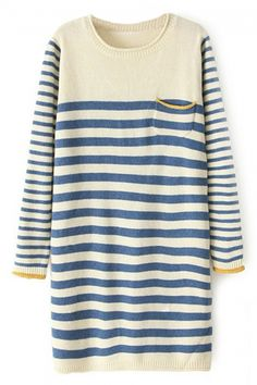Buy abaday Color Block Striped Long Sleeves Blue Dress from abaday.com, FREE shipping Worldwide - Fashion Clothing, Latest Street Fashion At Abaday.com