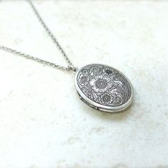 $14 Antique style Oval Locket Necklace with floral pattern