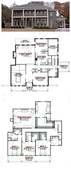 Plantation House Plan 78830 | Total Living Area: 4007 sq ft, 4 bedrooms & 4.5 bathrooms. #plantationhouse #houseplan