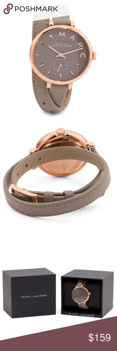 ✨NWT✨ Marc Jacobs Sally Double Wrap Leather Watch Brand new in box! Marc by Marc Jacobs Sally leather double wrap watch. Gray leather with rose gold tone stainless steel. 26mm. Buckle closure. Comes with box and care booklet. ***No Trades*** Marc by Marc Jacobs Accessories Watches