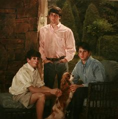 Lovely group oil portrait by an artist exclusively with Portraits, Inc.
