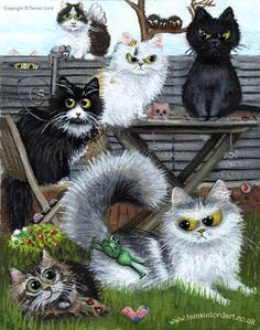 From The Fiendish Felines - Cat Art by Tamsin Lord