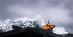 The St David's Tyne class lifeboat, Garside, powers through the waves in Ramsey Sound, off the Pembrokeshire coast, Wales. Yacht World, Giant Waves, Sea Storm, Pembrokeshire Coast, Big Sea, Merchant Navy, Tug Boats, Motor Boats, Stormy Sea