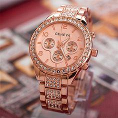 Durable 2016 Hot Fashion relogio feminino Luxury Brand Date Geneva Women Fashion Luxury Crystal Quartz Watches 01.19 //Price: $16.99 & FREE Shipping //     #hashtag2