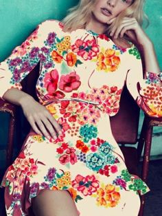 Bright and colorful floral pattern on a dress