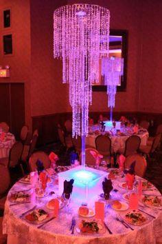 Crystal Bat Mitzvah centerpieces with light-up bases. | MitzvahMarket.com