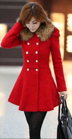 Red fur-collared fitted winter coat with gold buttons