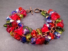 Flower Charm Bracelet Love in Bloom Colorful and by justCHARMING