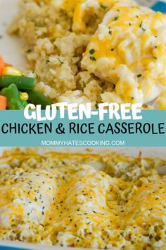 Make this delicious comfort meal with Cheesy Chicken and Rice Casserole that is gluten-free. It's the perfect gluten-free recipe. - Cheesy Chicken and Rice (Gluten-Free) - Mommy Hates Cooking Gluten Free Meal Plan, Gluten Free Rice, Gluten Free Recipes For Dinner, Gluten Free Cooking, Dairy Free Recipes, Gluten Free Recipes With Chicken, Easy Gluten Free Recipes, Gluten Free Dinners, Gluten Free Appetizers