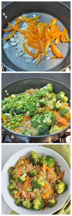 Make this Quinoa Vegetable Stir Fry for a healthy dinner tonight.  Use up veggies you have in the fridge. Less than 30 minutes to make.  Vegan and gluten free.