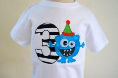 Sample Sale - Size 4 - Age 3 - Monster Birthday Applique Shirt - Customizable - monster theme - birthday party ideas - Boys
