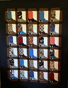 Attic Window Quilts, Arrow Pattern, Tie Quilt, Toddler Quilt, Custom Quilts, Baby Quilts, Customized Gifts, Cowboy Boots, Black And Brown