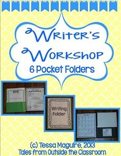 This writer's workshop folder is perfect for intermediate grades students. It provides graphic organizers for genres (narratives, expository, persuasive, and descriptive) as well as a reminder poster for each genre. It also gives labels for each step of the writing process as well as cues for students for the steps along the way!