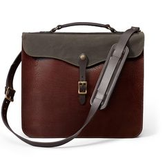 Leather Briefcase from Filson- Enhancements- not sure I like the snap on top of the flap, would probably just go with classic strap and buckle.  Might be difficult to source the thickness of waxed canvas that would be needed for the top cover