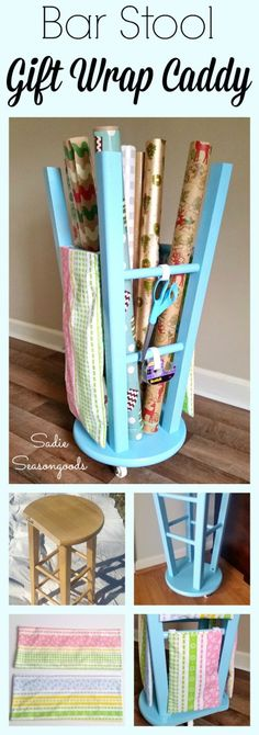 Take a plain-Jane wooden bar stool from the thrift store, and repurpose into an awesome (and portable!) wrapping paper organizer / gift wrap caddy! It holds all your rolls of paper, plus you can make and add storage bags to the rungs to hold bows, tags, ribbon, etc. A wonderful upcycle DIY project from #SadieSeasongoods / www.sadieseasongoods.com