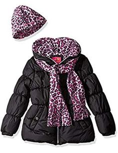 Rothschild Girls Zip Up Hooded Puffer Jacket Size 2T 3T 4T Cheetah Print Pink