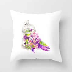 Bird Cage Floral Throw Pillow by Svitlana M - $20.00