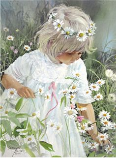 Love the floral crown, white dress and innocence of this. Would like to see more of child's face and features.