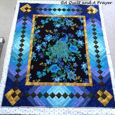 Quilts Using Fabric Panels Quilts With Fabric Panels Quilt Patterns Made With Panels A Quilt And A Prayer Quilting The Peacock Quilt Block Patterns, Quilt Blocks, Patchwork Patterns, Quilting Projects, Quilting Designs, Peacock Quilt, Peacock Theme, Peacock Design, Fabric Panel Quilts
