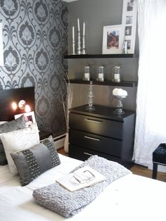 Another Pretty Bedroom.  Love the shelves above the nightstand.