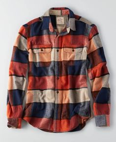 Aeo flagstaff flannel, men's, orange *clothing* in 2019 мужс Flannel Outfits Summer, Outfits Casual, Casual Shirts, Men Casual, American Eagle Outfits, Eagle American, Mens Flannel Shirt, Herren Outfit, Camisa Polo