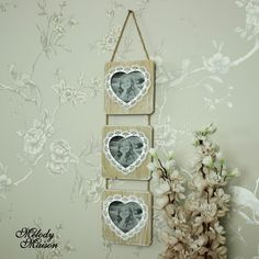 Ideal Mother's Day Gift Inspiration Square Wooden Triple Heart Hanging Photograph Frame Hanging wooden triple photograph frames in a square frame with heart shape aperture A delightful way to display photos of your loved ones or treaseured memories With 3 identical frames in a washed natural wood hanging on rope, surrounded with a lace style detail white Aperture size 8cm x 8cm Mom's Day, Mother's Day, Gifts…