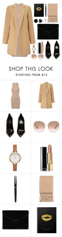 """""""Ready to Work"""" by ayiarundhati ❤ liked on Polyvore featuring Miss Selfridge, Yves Saint Laurent, Chloé, Kate Spade, Chanel, Montblanc, rag & bone and Rebecca Minkoff"""