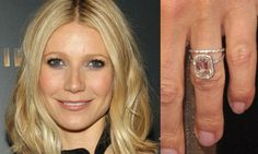 Gwyneth Paltrow | Asscher cut center diamond, a halo of micro pave diamonds, and a thin band set with micro pave diamonds.